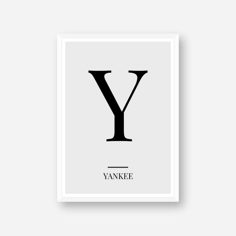 Black letter Y (Yankee) NATO phonetic alphabet minimalist free printable wall art