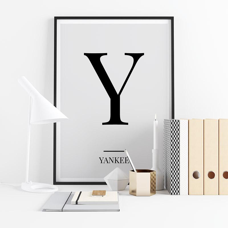 Black letter Y (Yankee) NATO phonetic alphabet minimalist free printable wall art, digital print