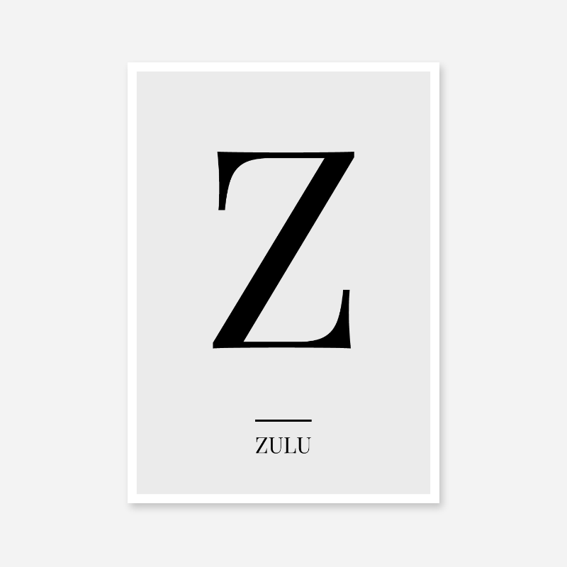 Black letter Z (Zulu) NATO phonetic alphabet minimalist free printable wall art
