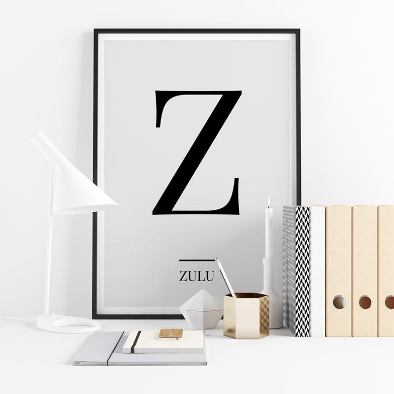 Black letter Z (Zulu) NATO phonetic alphabet minimalist free printable wall art, digital print