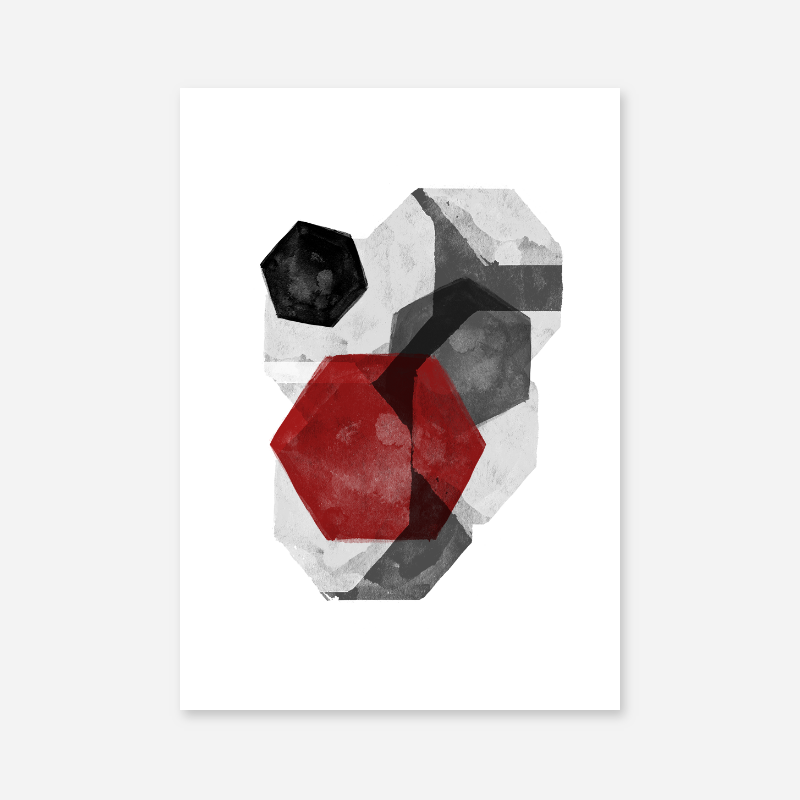 Black grey and red abstract design with polygons watercolour minimalist Scandinavian downloadable wall art