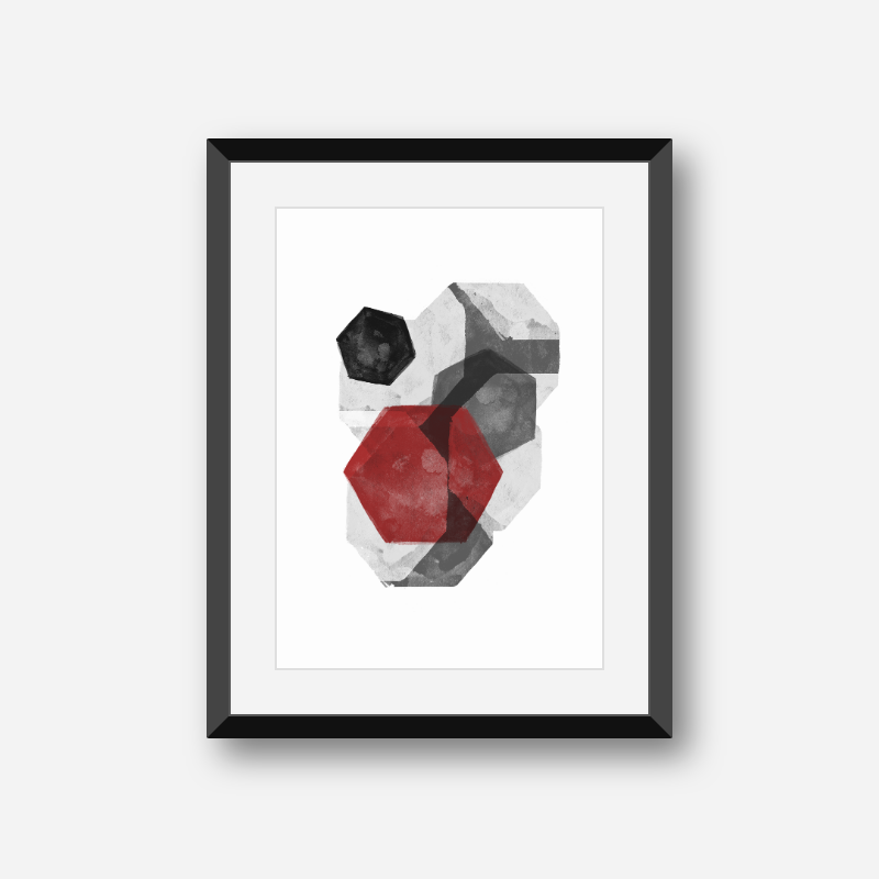 Black grey and red abstract design with polygons watercolour minimalist Scandinavian downloadable wall art, digital print