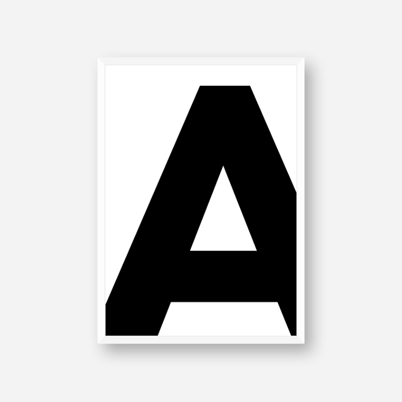 Black letter A typographical minimalist free printable wall art