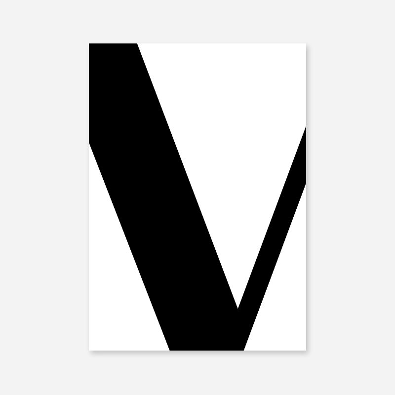Black letter V abstract typographical minimalist free printable wall art