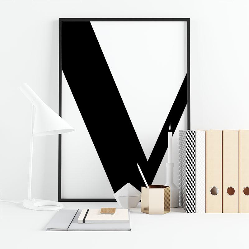 Black letter V abstract typographical minimalist free printable wall art, digital print
