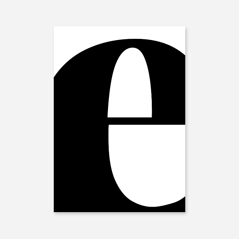 Black letter e abstract typography minimalist free printable wall art