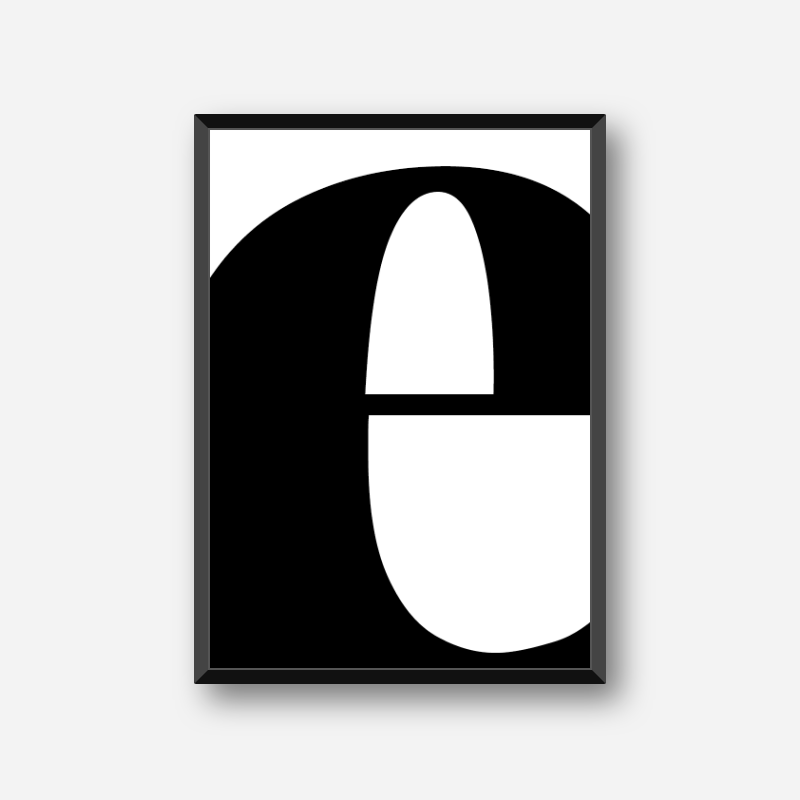 Black letter e abstract typography minimalist free printable wall art, digital print