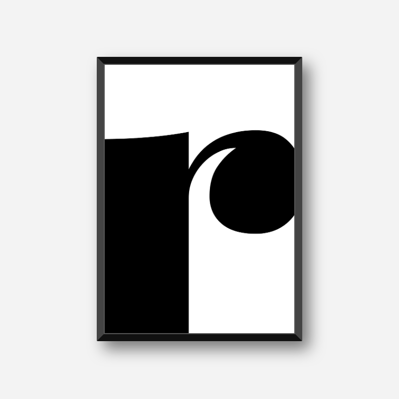 Black letter r abstract typography minimalist free printable wall art