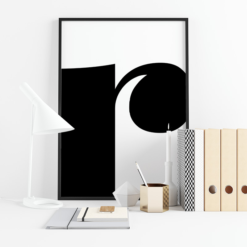 Black letter r abstract typography minimalist free printable wall art, digital print