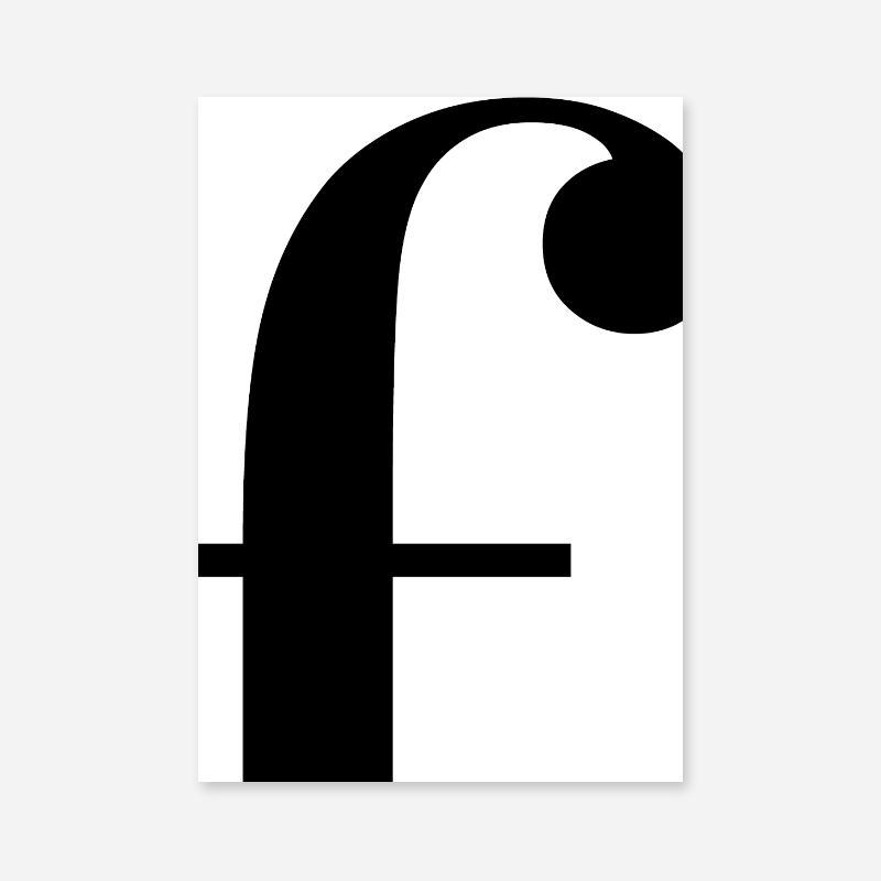 Black letter f abstract typography minimalist free printable wall art