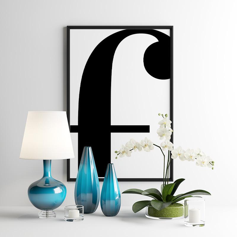 Black letter f abstract typography minimalist free printable wall art, digital print