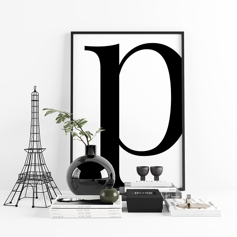 Black letter p abstract typography minimalist free printable wall art