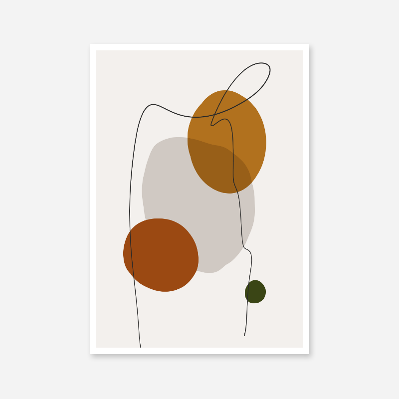 Modern abstract shapes with squiggle black line over free minimalist printable art, digital print