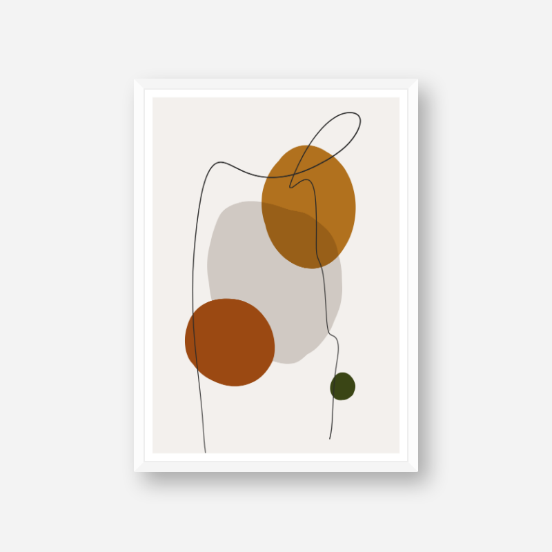 Modern abstract shapes with squiggle black line over free minimalist printable art