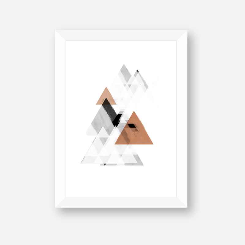 Grey white and brown abstract watercolour triangles Scandinavian Nordic design downloadable wall art