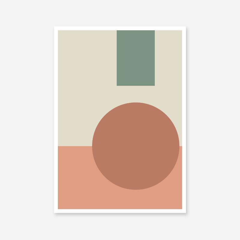 Light red and green coloured geometric shapes minimalist printable wall art, digital print