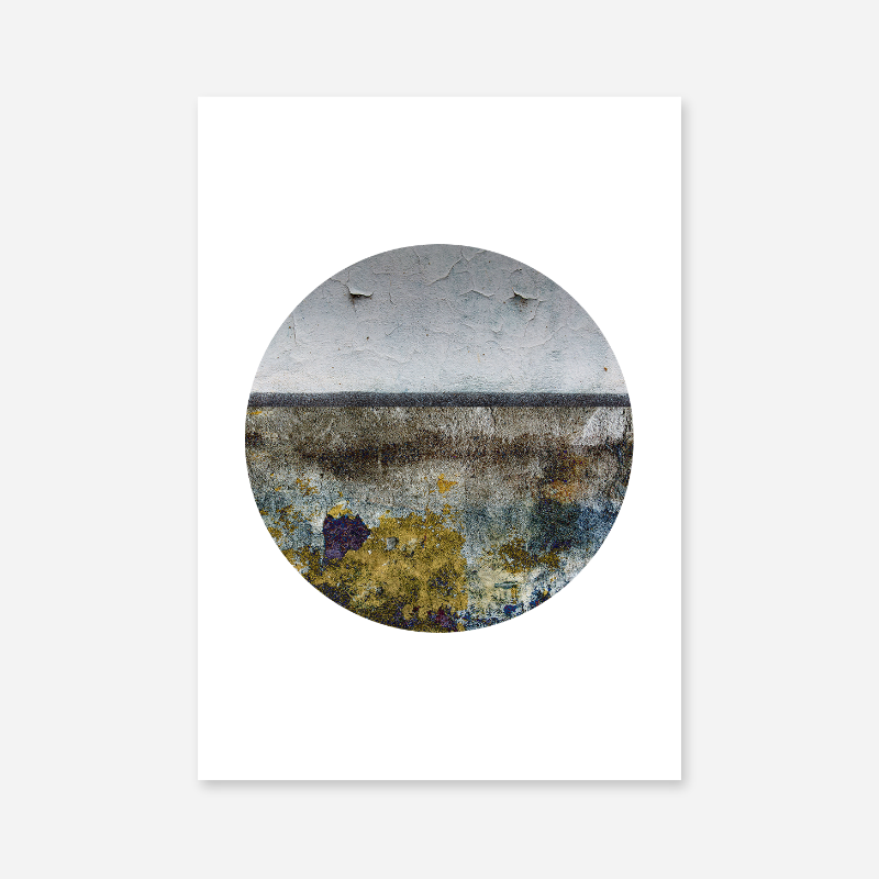 Blue grey yellow and brown grunge wall effect circle Scandinavian design free printable wall art