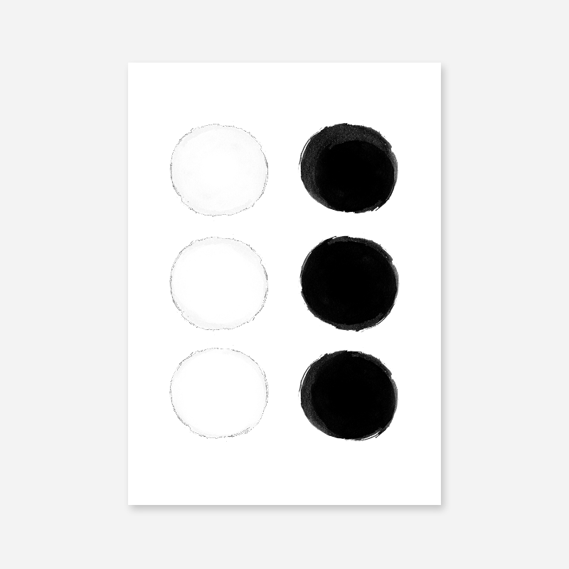 Black and white watercolour blobs minimalist free printable wall design