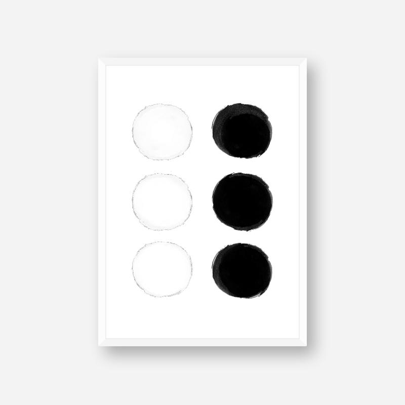 Black and white watercolour blobs minimalist free printable wall design