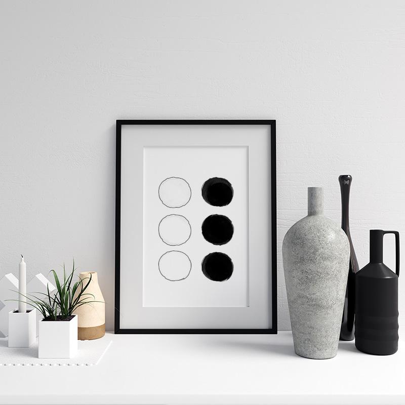 Black and white watercolour blobs minimalist free printable wall design, digital print