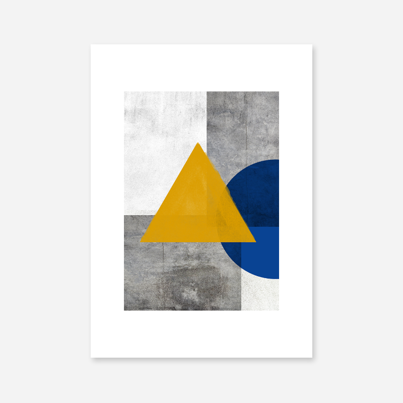 Abstract grey concrete wall with dark yellow watercolour triangle and half blue circle free printable wall art