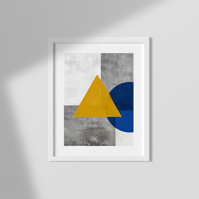 Abstract grey concrete wall with dark yellow watercolour triangle and half blue circle free printable wall art, digital print