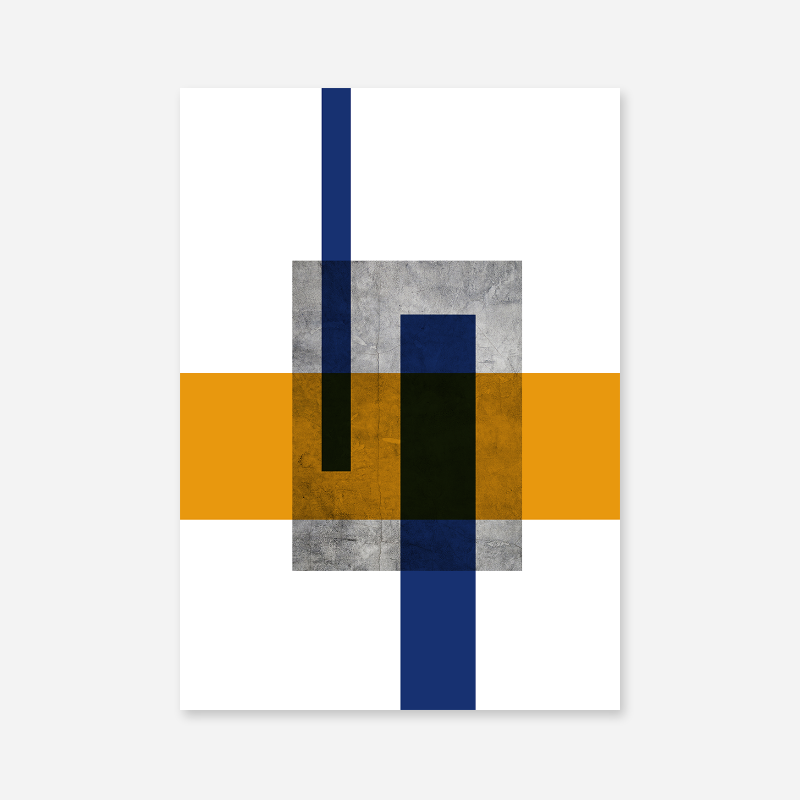 Grey concrete wall with orange and blue rectangles abstract minimalist free printable design wall art