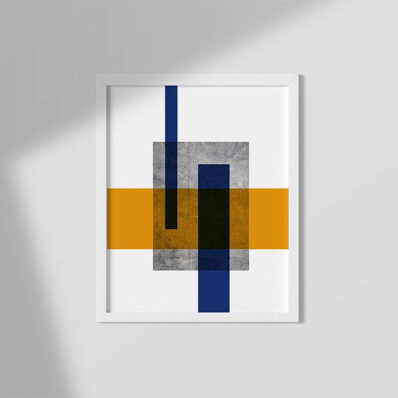 Grey concrete wall with orange and blue rectangles abstract minimalist free printable design wall art, digital print