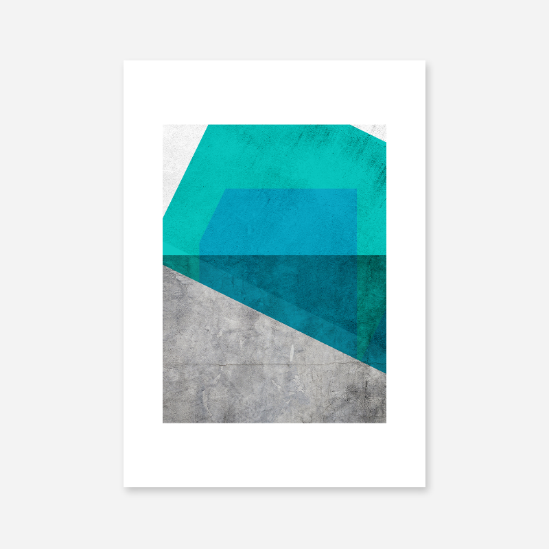 Grey grunge concrete effect with teal green and blue colour abstract shapes free downloadable printable wall art