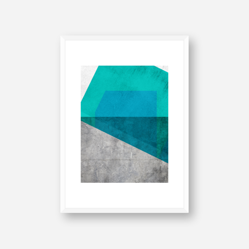 Grey grunge concrete effect with teal green and blue colour abstract shapes free downloadable printable wall art, digital print