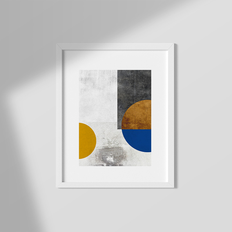 Abstract grunge concrete wall with brown and blue half circles and shapes free printable wall art, digital print