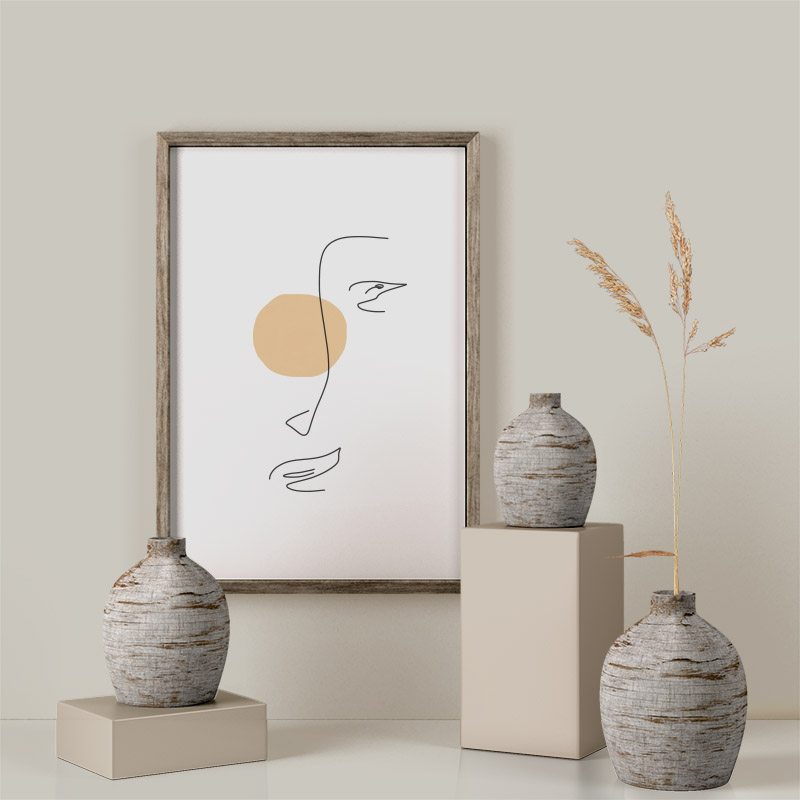 One line female face drawing with light orange peach coloured blob minimalist design free printable wall art