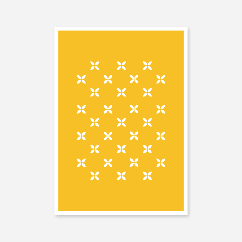 White geometric flower patterns with yellow background free downloadable printable wall art design, digital print