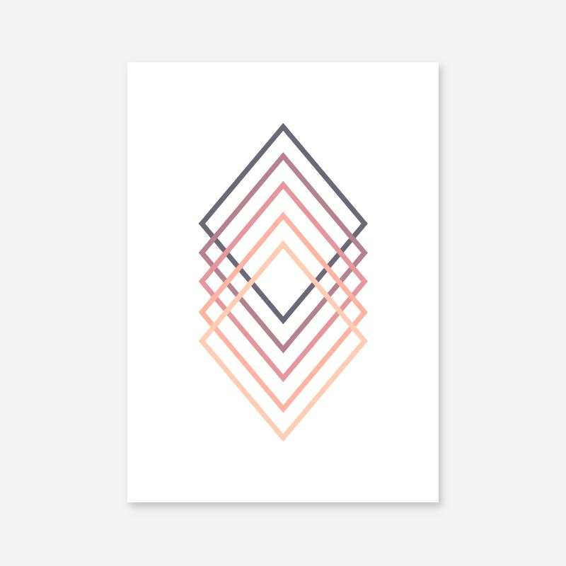 Pink purple peach chic colour rhombus rectangle abstract minimalist printable wall art