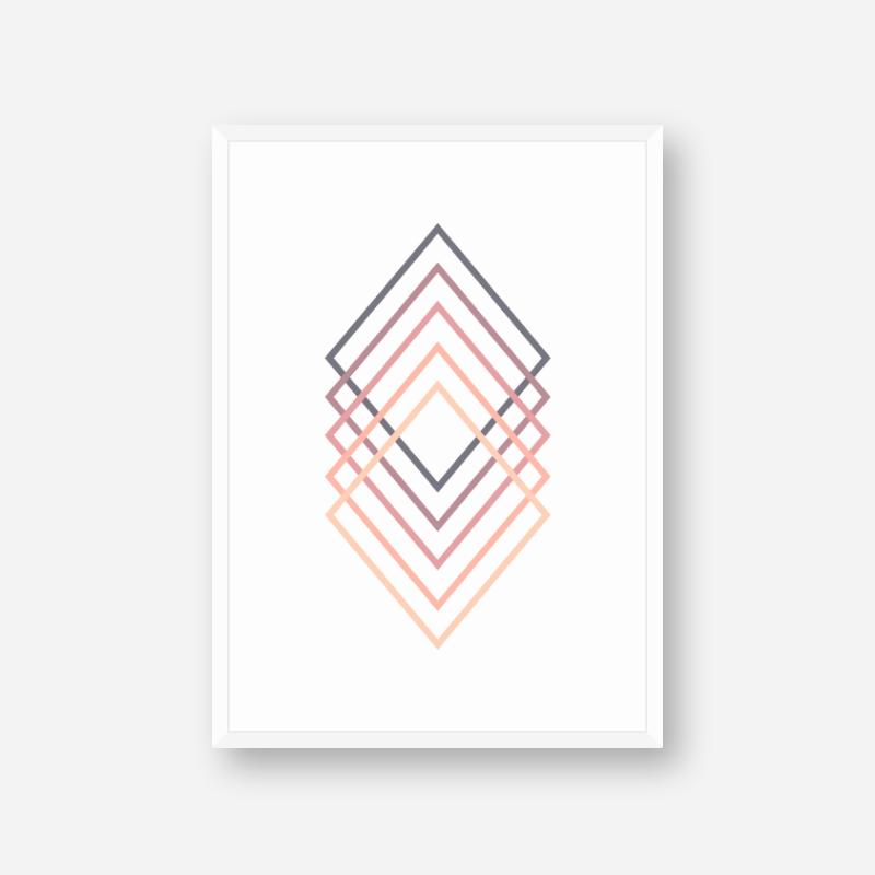 Pink purple peach chic colour rhombus rectangle abstract minimalist printable wall art, digital print
