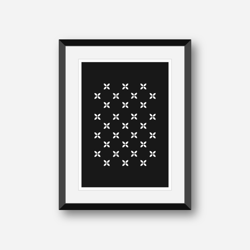 White geometric flower patterns with black background free downloadable printable wall art design, digital print