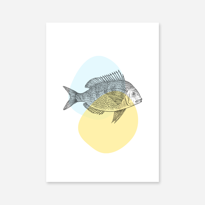 Fish on light yellow and blue blobs Nordic Scandinavian style design free downloadable printable wall art