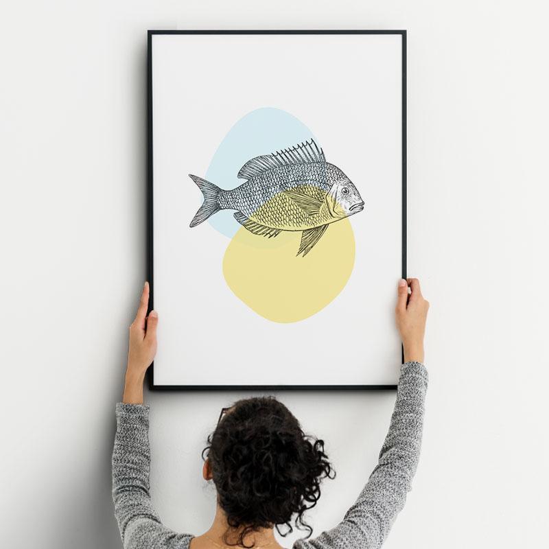 Fish on light yellow and blue blobs Nordic Scandinavian style design free downloadable printable wall art, digital print