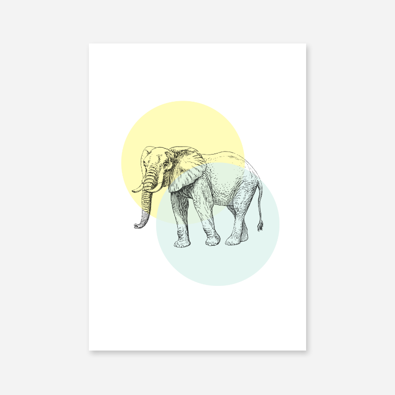 Elephant with light yellow and blue circles Nordic Scandinavian style design free printable wall art