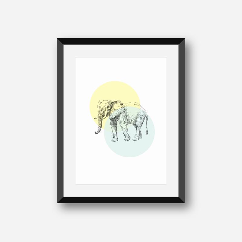 Elephant with light yellow and blue circles Nordic Scandinavian style design free printable wall art, digital print