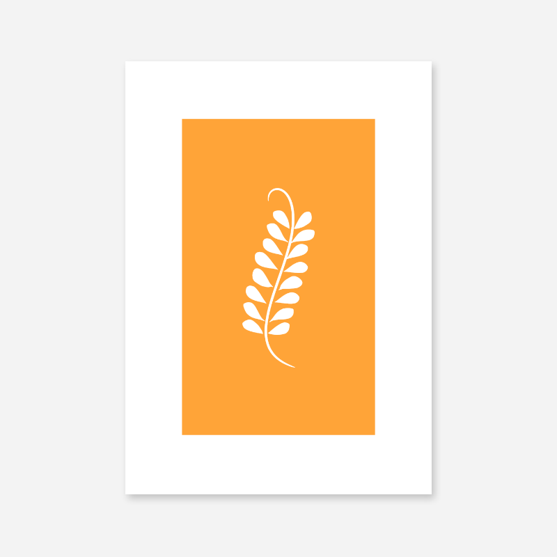 Leaf pattern with orange background free downloadable minimalist printable wall art design