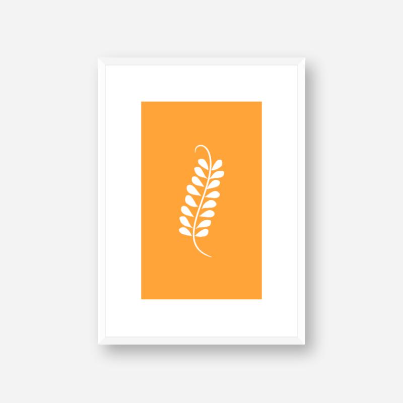 Leaf pattern with orange background free downloadable minimalist printable wall art design, digital print
