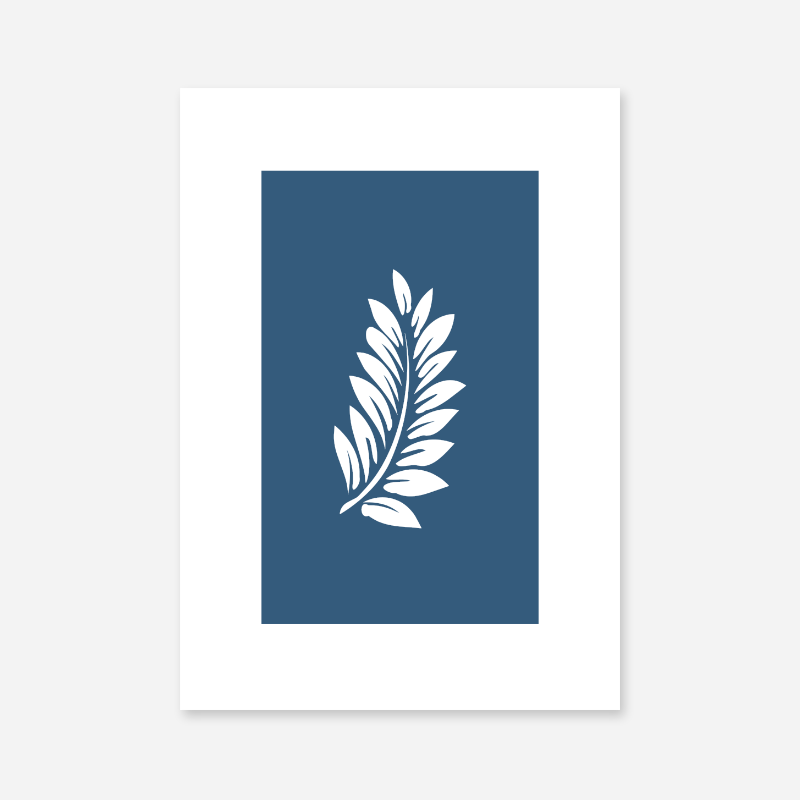 Leaf pattern with dark blue background free downloadable minimalist printable wall art design