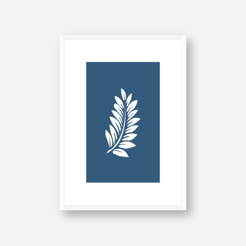 Leaf pattern with dark blue background free downloadable minimalist printable wall art design, digital print