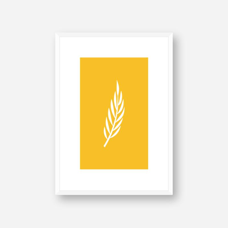 Leaf pattern with dark yellow background free downloadable minimalist printable wall art design, digital print