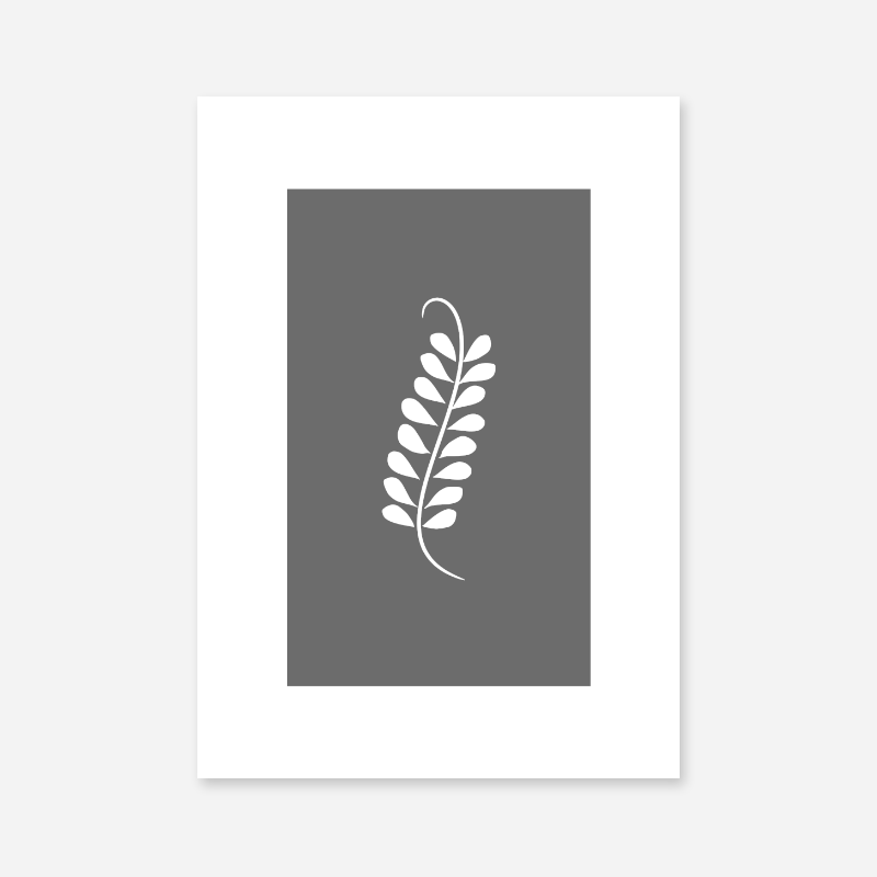 Leaf pattern with grey background free downloadable minimalist printable wall art design