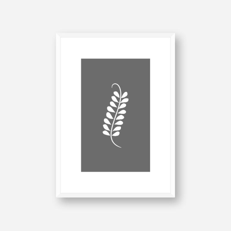 Leaf pattern with grey background free downloadable minimalist printable wall art design, digital print