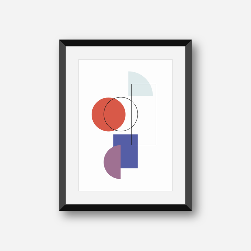 Blue red and purple geometric shapes circle rectangle half circle with black outline shapes printable wall art