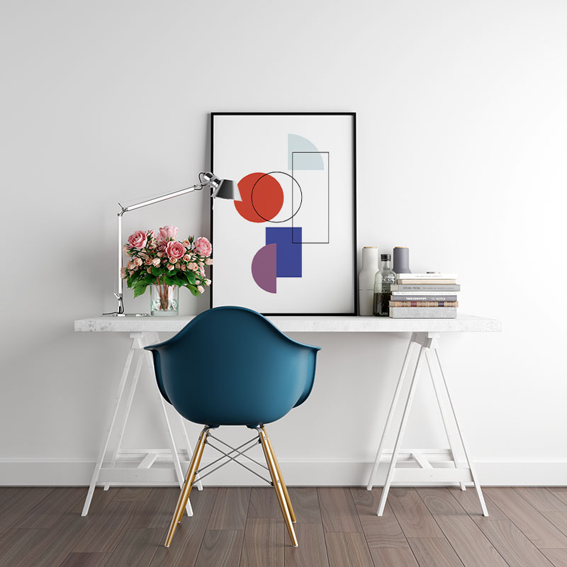 Blue red and purple geometric shapes circle rectangle half circle with black outline shapes printable wall art, digital print