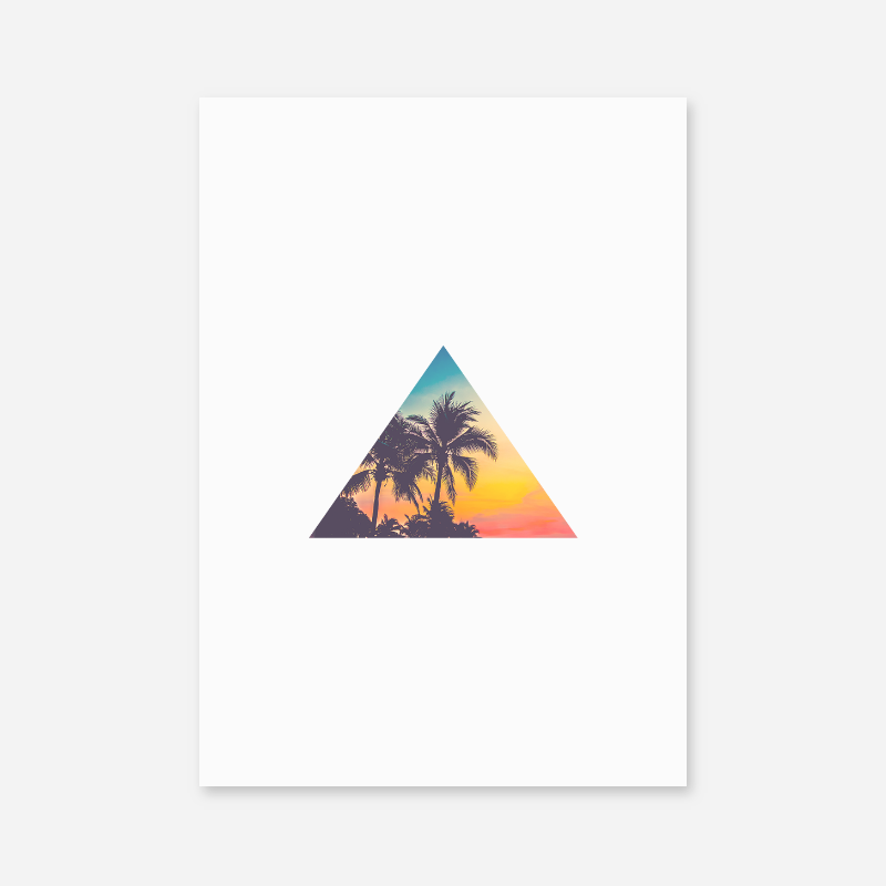 Palm tree summer concept triangle minimalist Scandinavian printable wall art